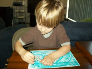 Zander working on his rainbow