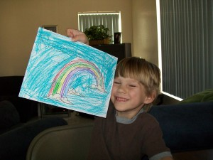 Zander very proud of his picture.