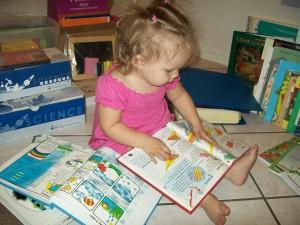 Lexi taking a peek at Zander's books