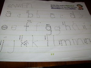 A Review of the letters learned.