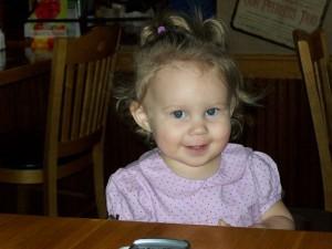 Miss Cutie at Applebee's. Feb '09