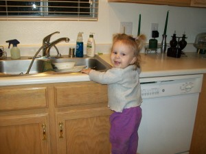 "Lexi after dinner ""doing the dishes"""