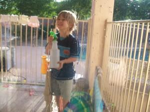 Zander having fun spraying!