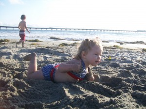Lexi, you're suppose to swim in the water; not the sand.=)